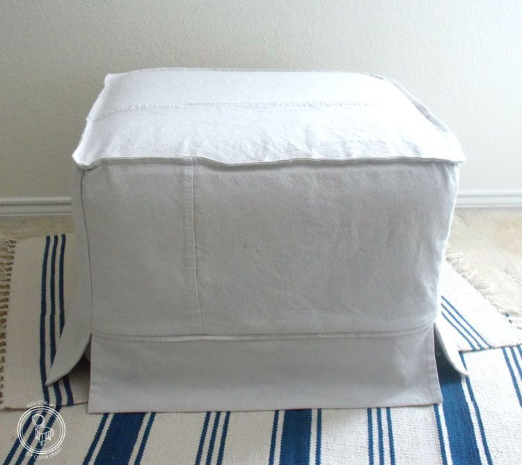 Dropcloth ottoman cover, including the seams! — August Blues