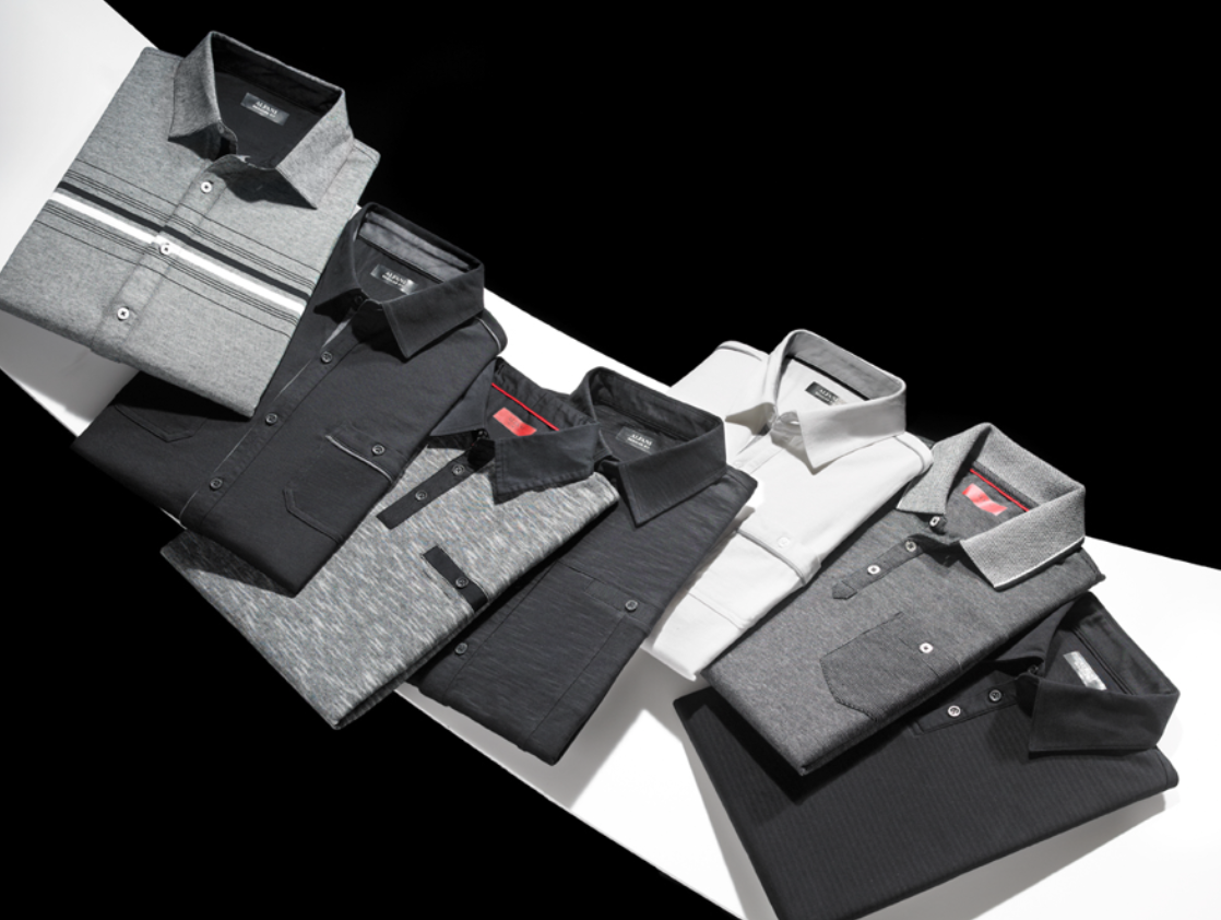 Taking it back to basics with black and white knit shirts by Alfani