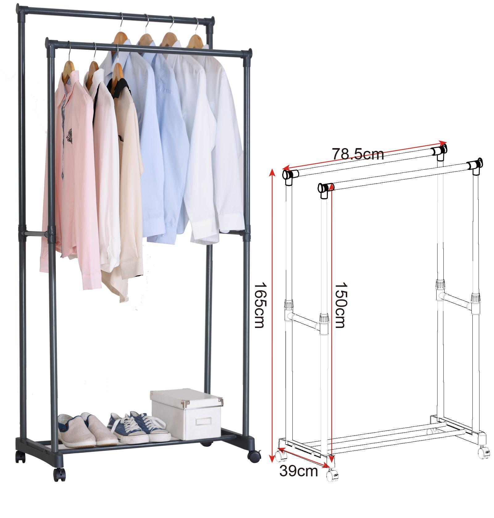 Dieser Kleiderständer mit Doppelkleiderstange eignet sich ideal zum Aufbewahren oder TranSRortieren Ihrer Garderobe Durch