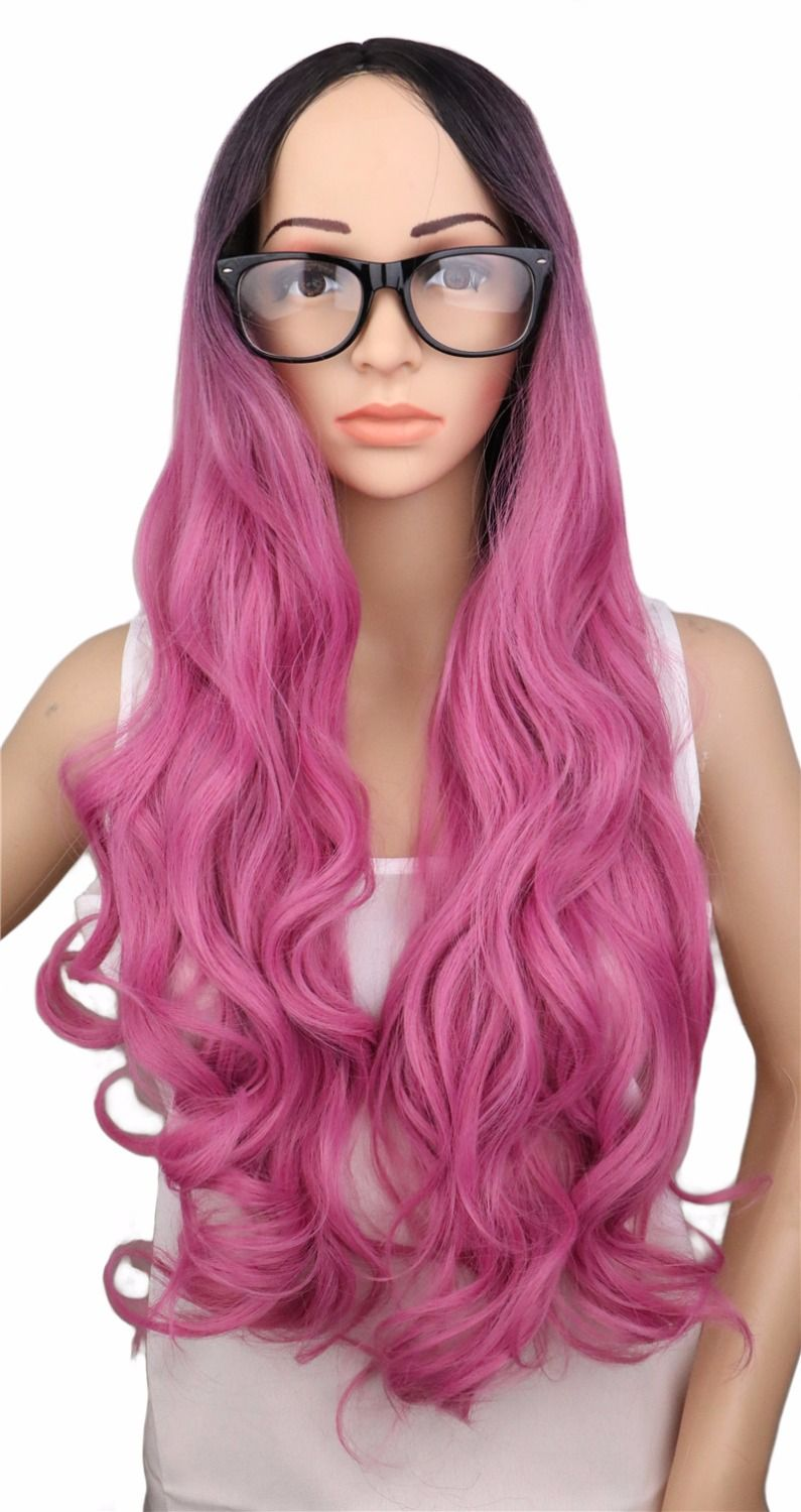 Qqxcaiw laides long wavy party cosplay wig for black women ombre
