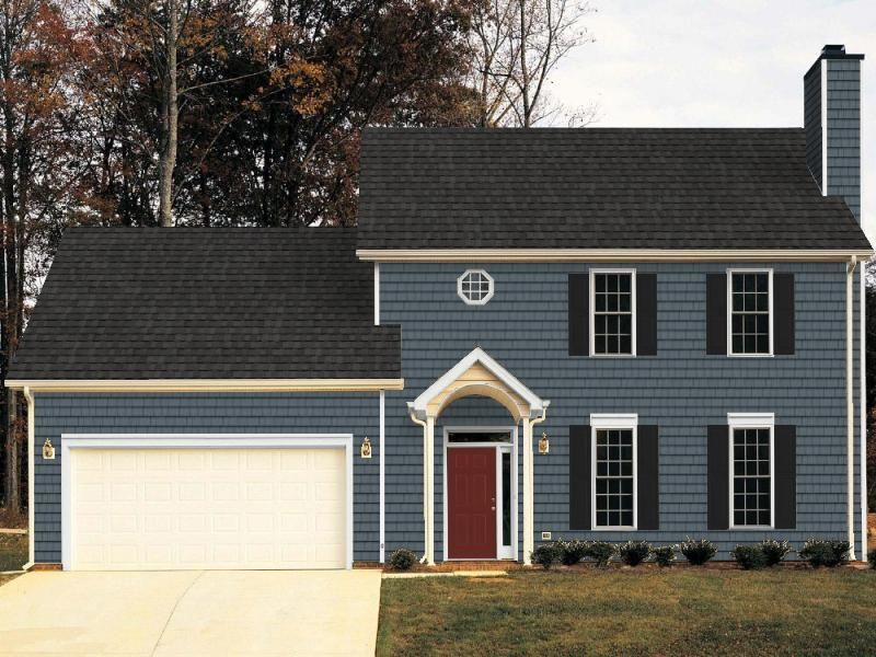 I Used A Standard Internet House Picture To See What Our House Might Look Like With Different Siding Color Red Door House Exterior House Colors House