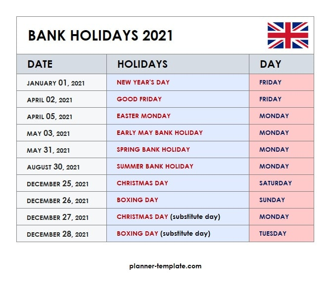 UK Holiday 2021 Calendar Template   School, Bank, Public Holidays