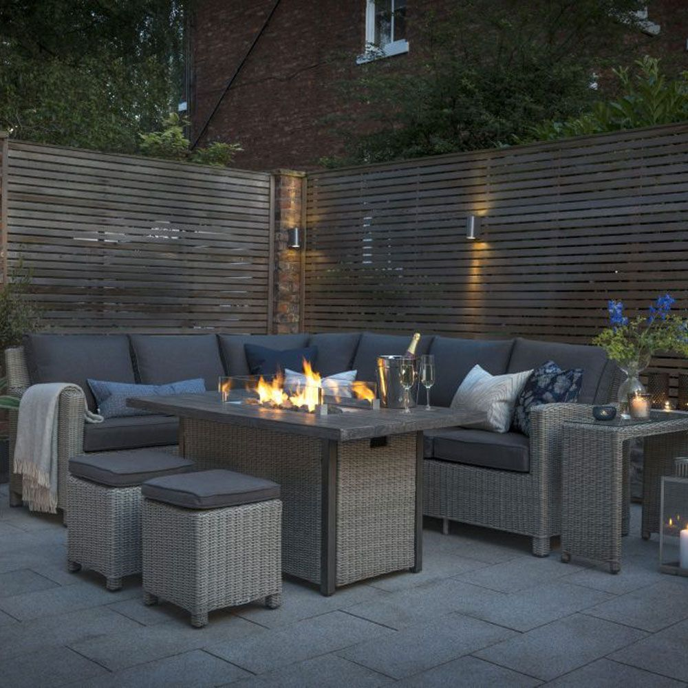 garden dining set fire pit table