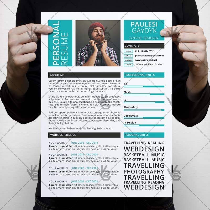Free Clean Resume Psd Template: Blue Clean Resume - Free PSD Template (With Images)
