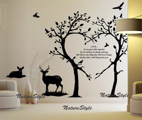 Two Tees With Two Deer And Flying Birds Vinyl Wall Decal Sticker