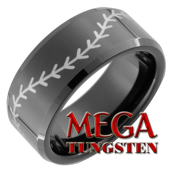 Tungsten Carbide Ring 10mm Black Beveled Baseball by MegaTungsten, $49.00