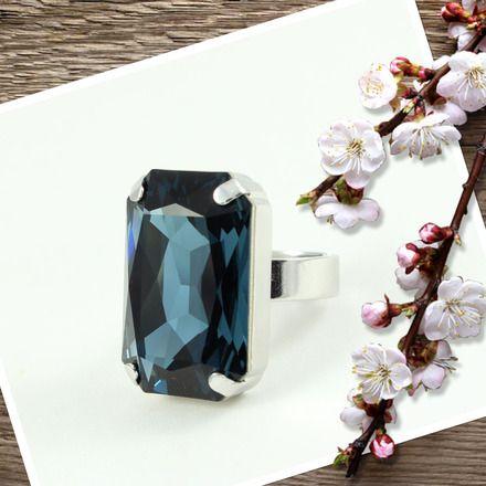bague swarovski cristal rectangulaire