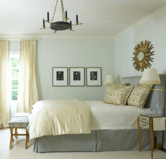 Bedrooms   Gray Headboard Bed Skirt Yellow Silk Duvet Pillows Gold Sunburst  Mirror Brass Sconces Mirrored