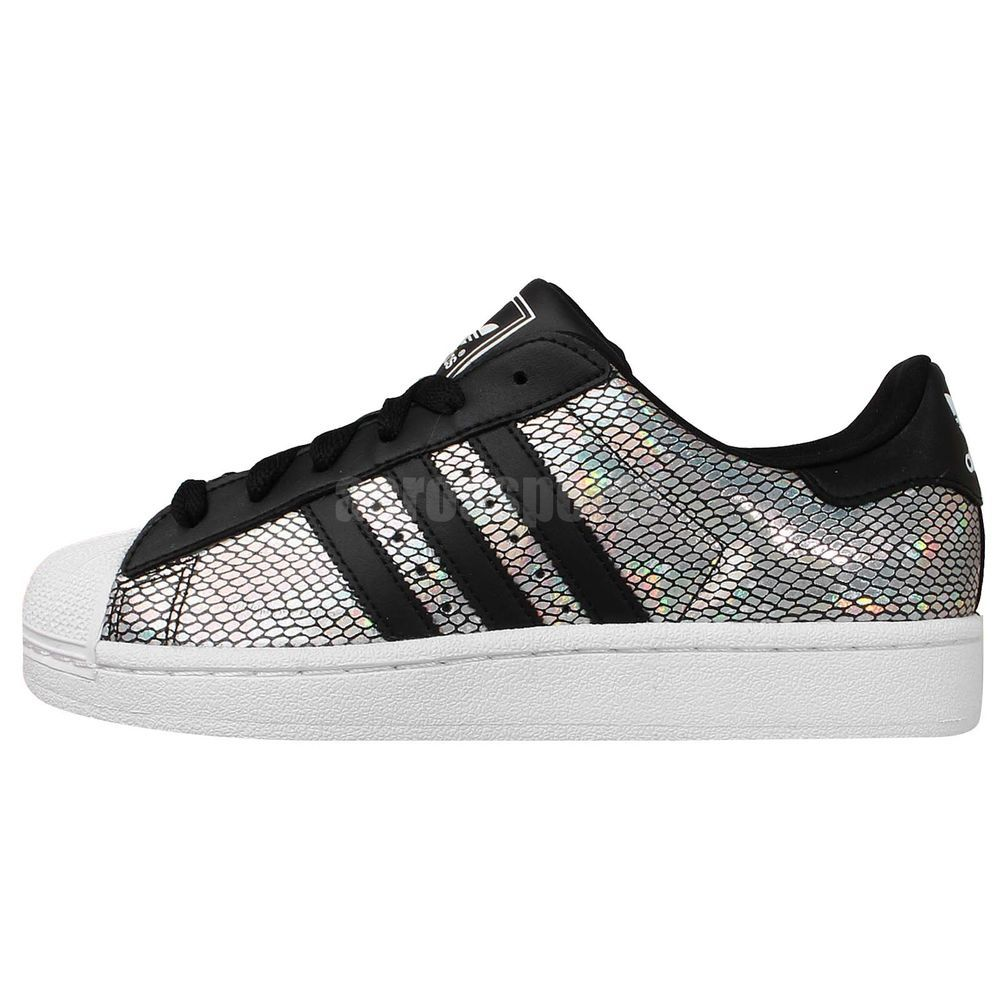 Adidas Originals Superstar 2 W Silver Holographic Black Womens Casual Shoes  #adidas #AthleticSneakers