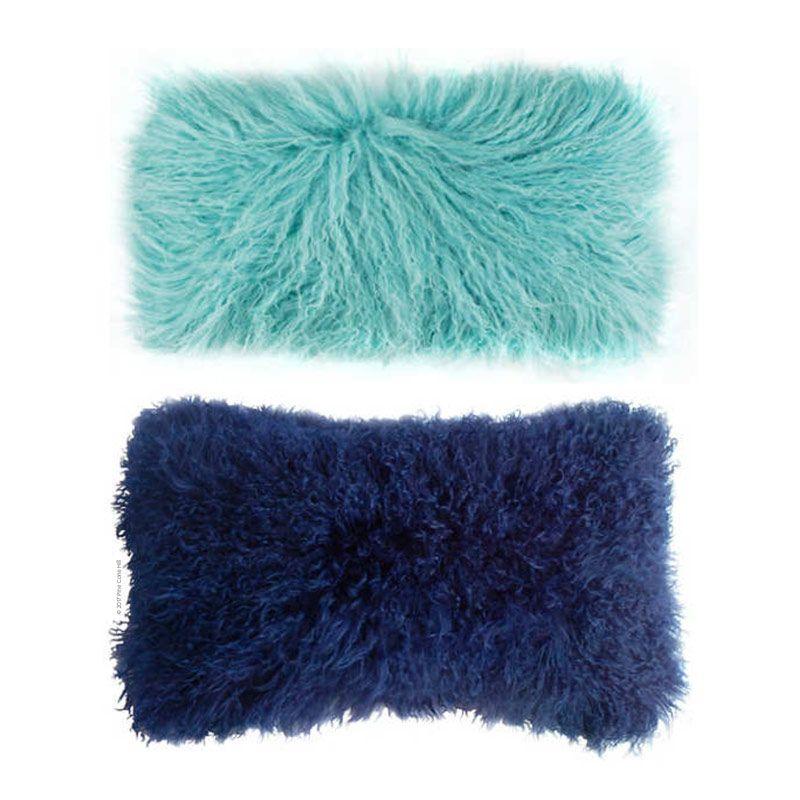 Longwool Tibetan Sheepskin Rectangle Pillow. 2 Colors
