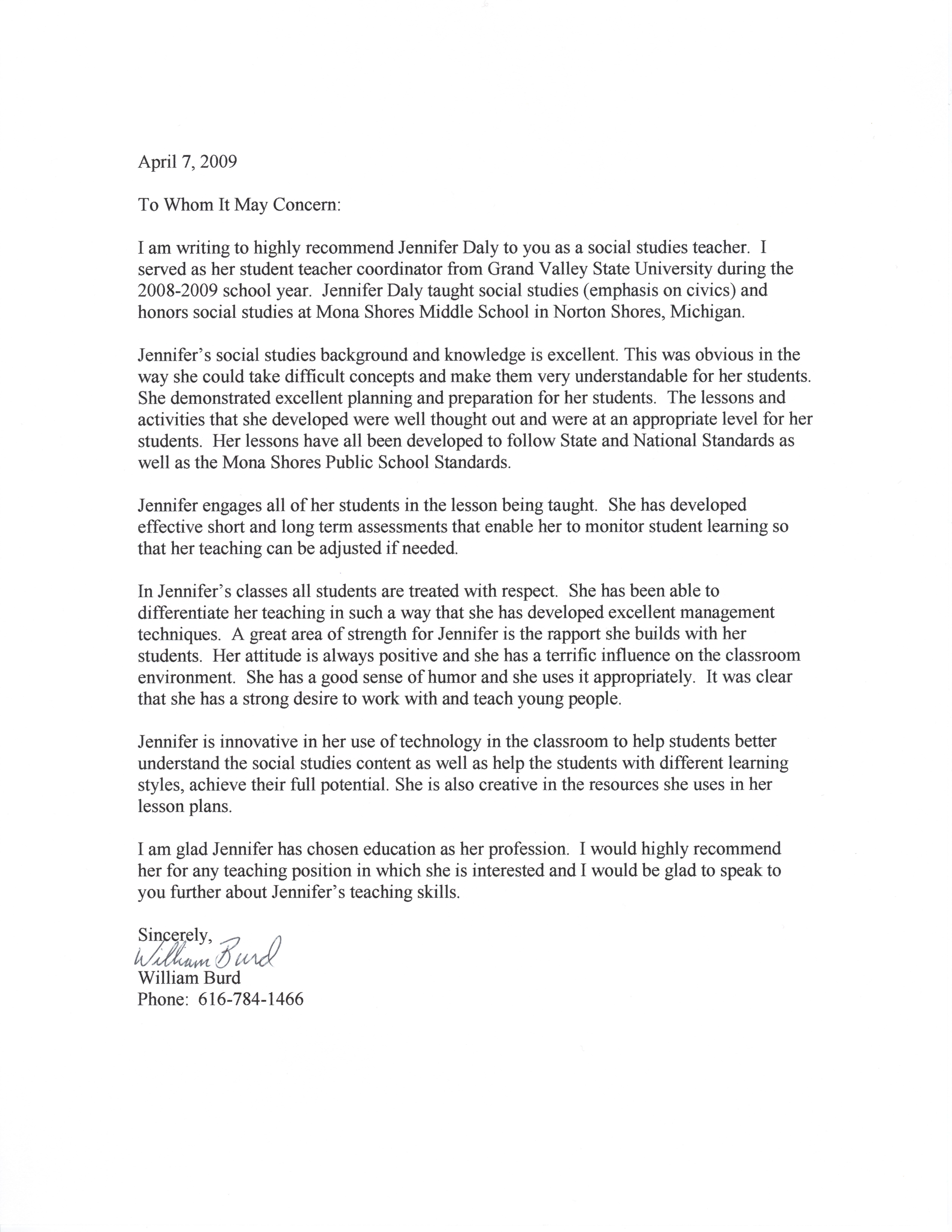 High Quality Student Teacher Recommendation Letter Examples | Letter Of Recommendation U2013  Student Teaching Coordinator Within Reference Letter
