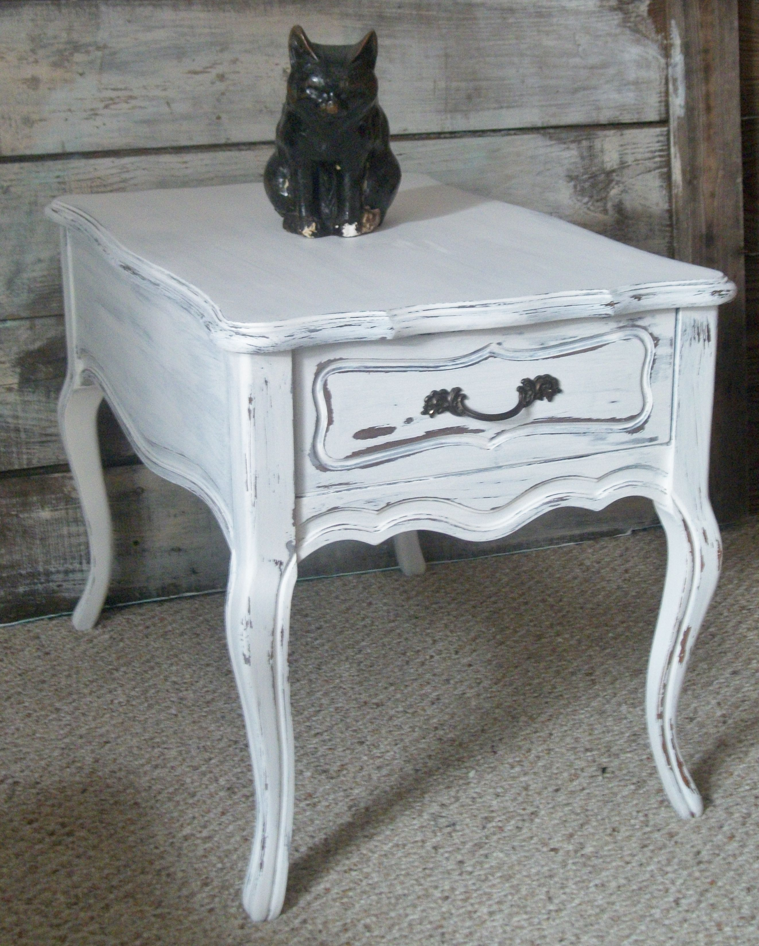 Vintage French Provincial Mersman White Washed End Side Table