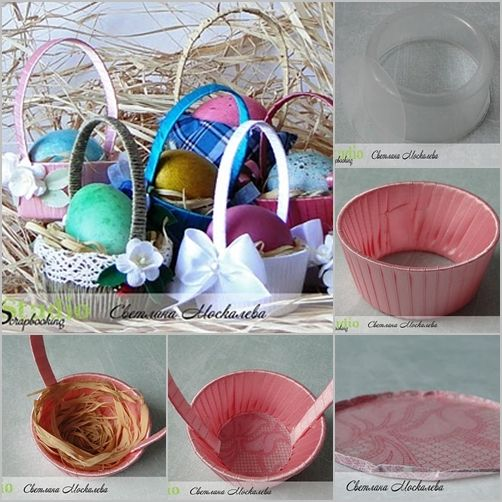 DIY Easter Basket With Disposable Plastic Bowl Easter
