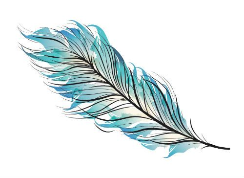 blue watercolor feather tattoo set of 2 temporary tattoo set gift under 5 gift for her. Black Bedroom Furniture Sets. Home Design Ideas