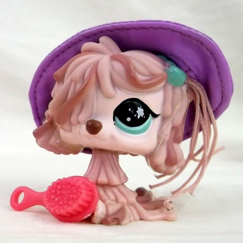 Littlest Pet Shop 930 Komondar Dog LPS Sp. Ed. Figure HASBRO 2008 Pink brush hat