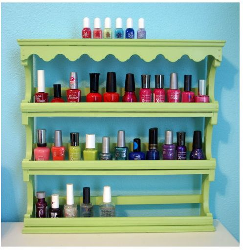 Use an old spice rack to organize nail polish my collection is use an old spice rack to organize nail polish my collection is getting out of control for the little make up bag it currently lives in solutioingenieria Gallery