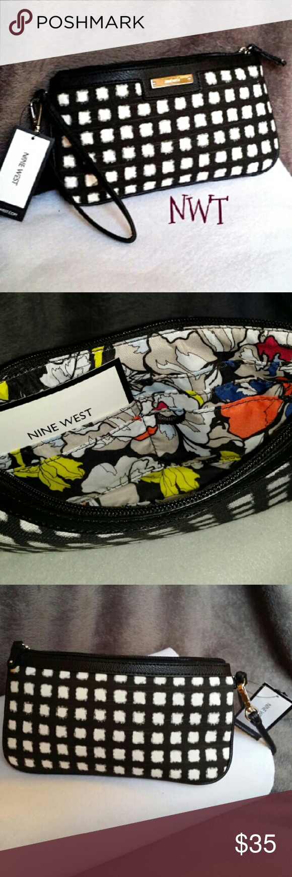 **NEW WITH TAGS** TableTreasure East Wristlet This simple yet fun wristlet by Nine West will surely make you a hit among your friends on girl's night!! Synthetic fabric will complement any outfit whether it's dressy or casual. It is definitely one of the trend-right handbags you'll be reaching for in your closet again and again. Inside vibrant floral print features 6 slip pockets and one zip pocket for organization of your cell phone, cards & money. Zip top closure & wrist strap in  black…