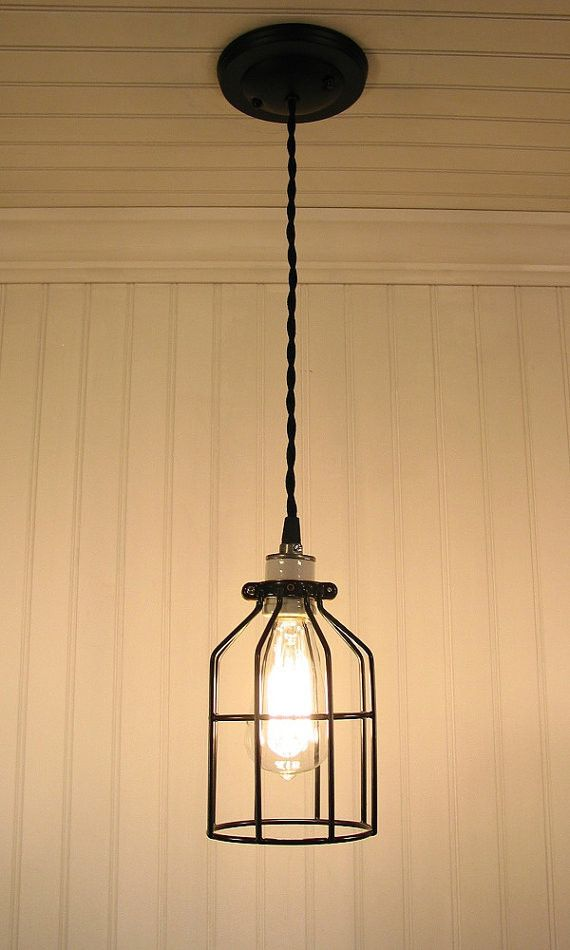 Industrial Cage Pendant Light With Edison Bulb Cage Pendant