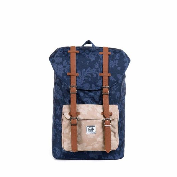 3268385c360 Herschel Supply The Little America Mid Volume Backpack in Navy Waldorf   amp  Khaki Herschel Supply