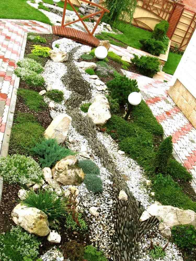 Bodendeckerpflanzen und Fluss aus Kieselsteinen | Steingarten ...