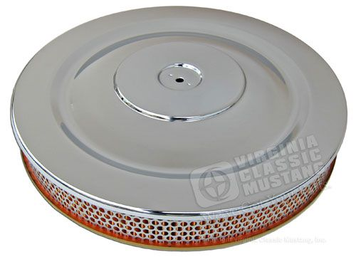 SINGLE HUMP CHROME AIR CLEANER WITH GOLD BASE-EXACT REPRODUCTION  V8