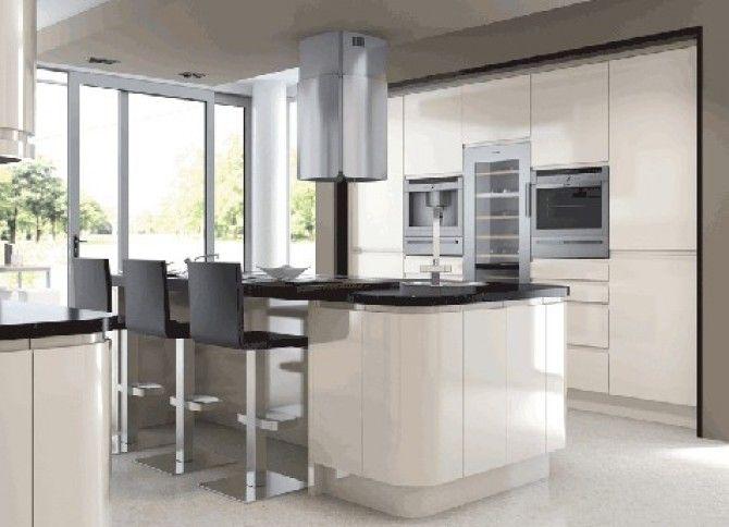 Cream gloss kitchen in a modern & uncluttered slab style.   Kitchen ...