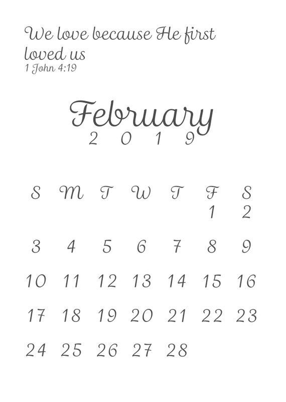 February 2019 Calendar Bible A4 February 2019 Bible Verse Calendar | Products | Baby due date