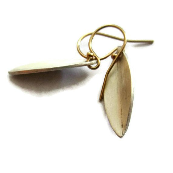 Leaf Earrings Simple Silver Earrings Small Geometric by SHERIBERYL