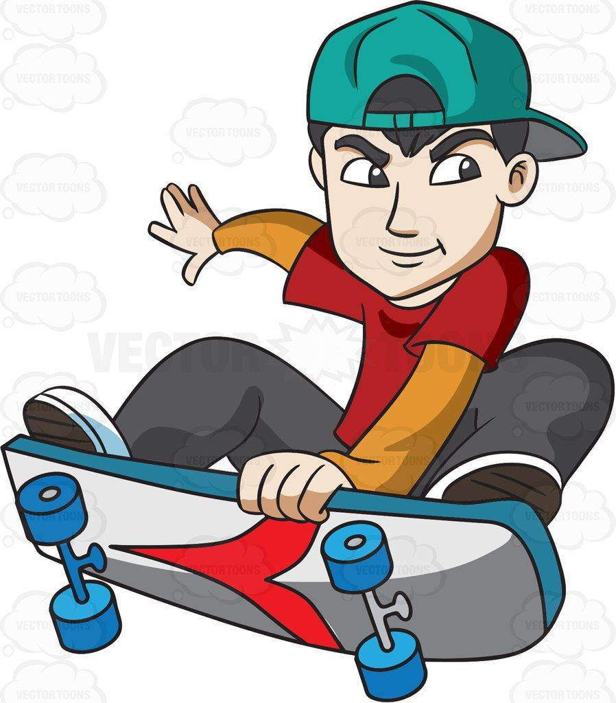 A Teenager Doing A Skateboard Exhibition With Images Cartoon