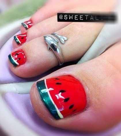 Watermelons! This would also make a good highlighted nail with all others red too. Great for summer.
