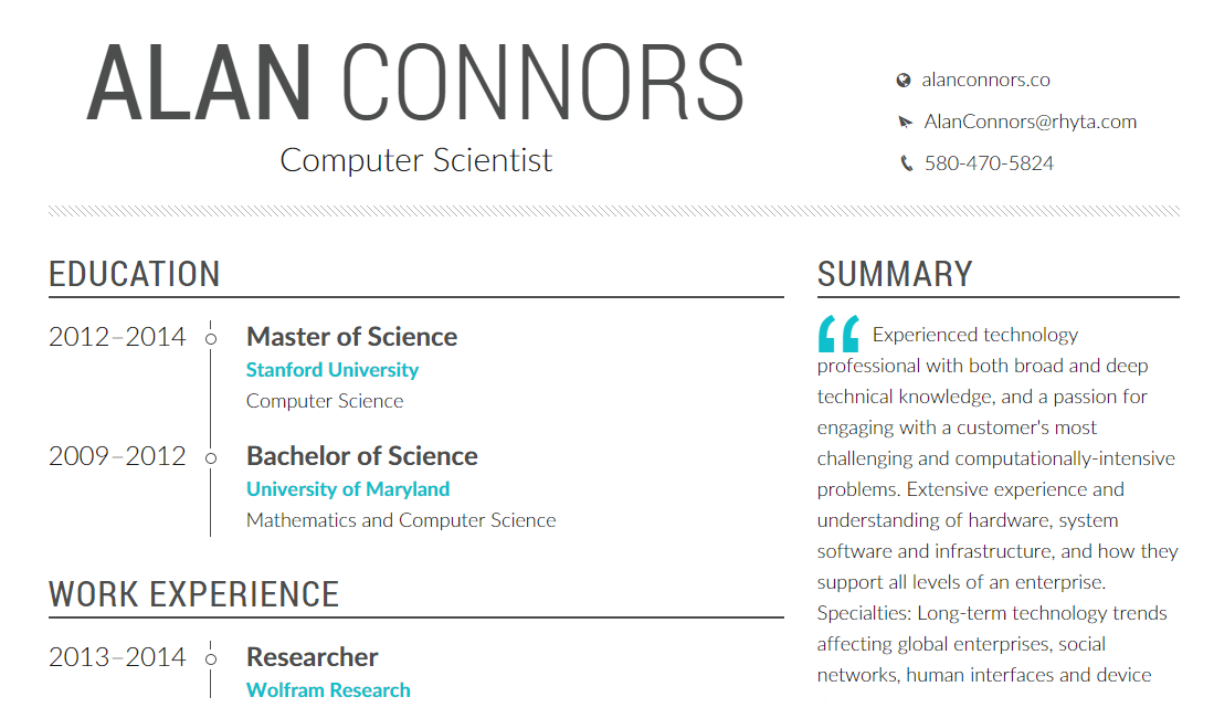 Profession.is is a beautiful resume generator that will