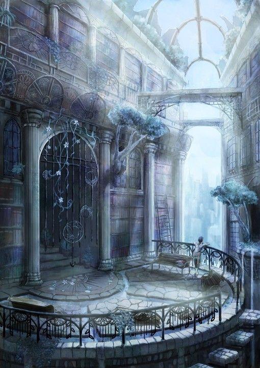 図書館 しようせ さんのイラスト ファンタジーな風景