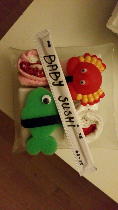Baby Sushi cadeau voor een babyshower gemaakt!