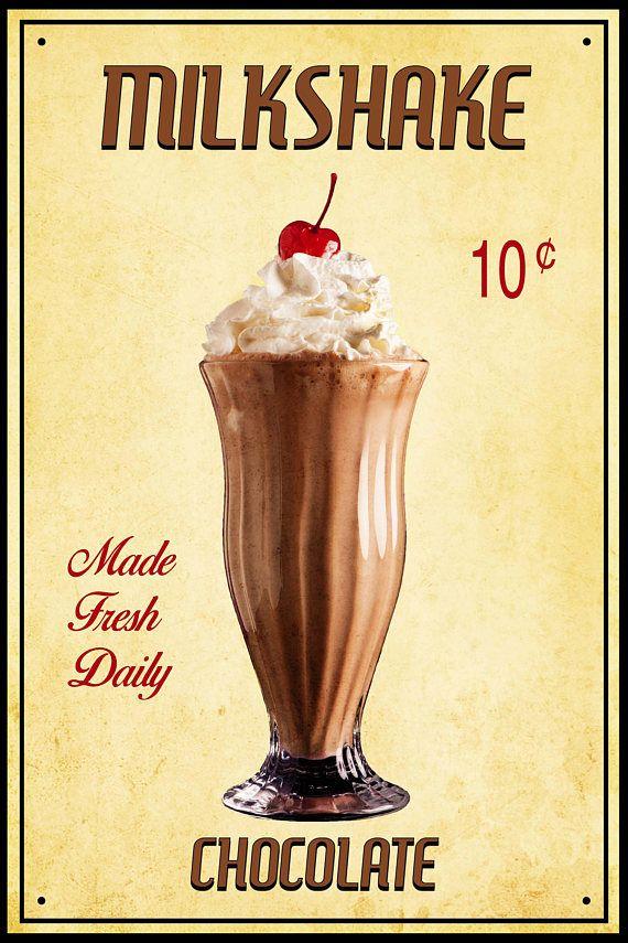 Retro Milkshake Print, Chocolate Milkshake Photo, Vintage