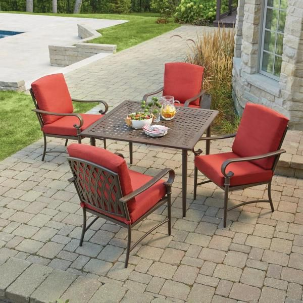 Hampton Bay Oak Cliff 5 Piece Metal Outdoor Dining Set With Chili Cushions 176 411 5d The Home Depot In 2020 Outdoor Dining Set Outdoor Dining Patio Dining Set
