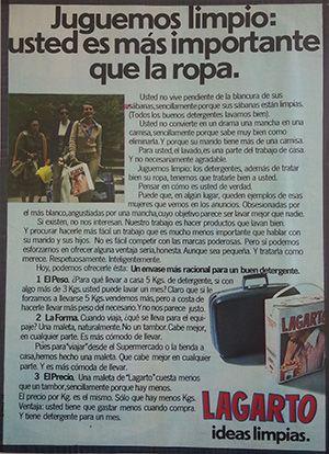 1980 Anuncio Lagarto Juguemos Limpio Usted Es Mas Importante