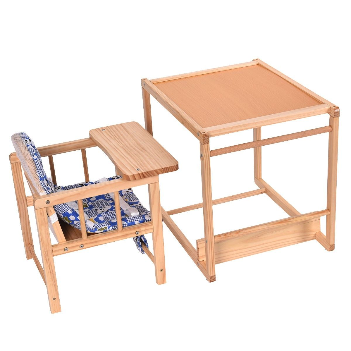 Surprising 2 In 1 Solid Wooden Baby High Chair Feeding Infant Toddler Caraccident5 Cool Chair Designs And Ideas Caraccident5Info