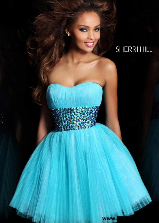 Aqua A-Line Short Cheap Homecoming Dress by Sherri Hill 21163 [Sherri Hill 21163] - $199.50 : homecomingnew.com