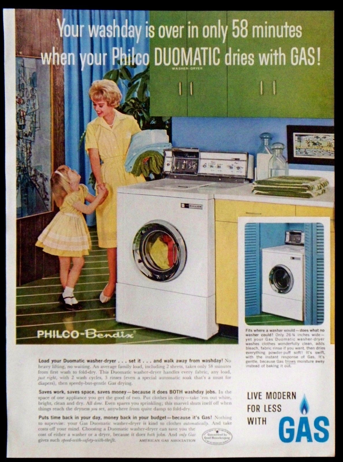 Washer And Dryer Calgary Vintage 1961 Philco Bendix Duomatic Washer Dryer Magazine Ad Dries