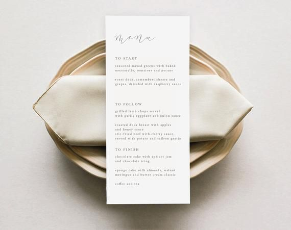 wedding Menu Template, Printable Menu, Modern Menu, Minimalist Menu Instant Download, Menu Design, Elegant Menu Templates, Menu Designs #weddingmenutemplate