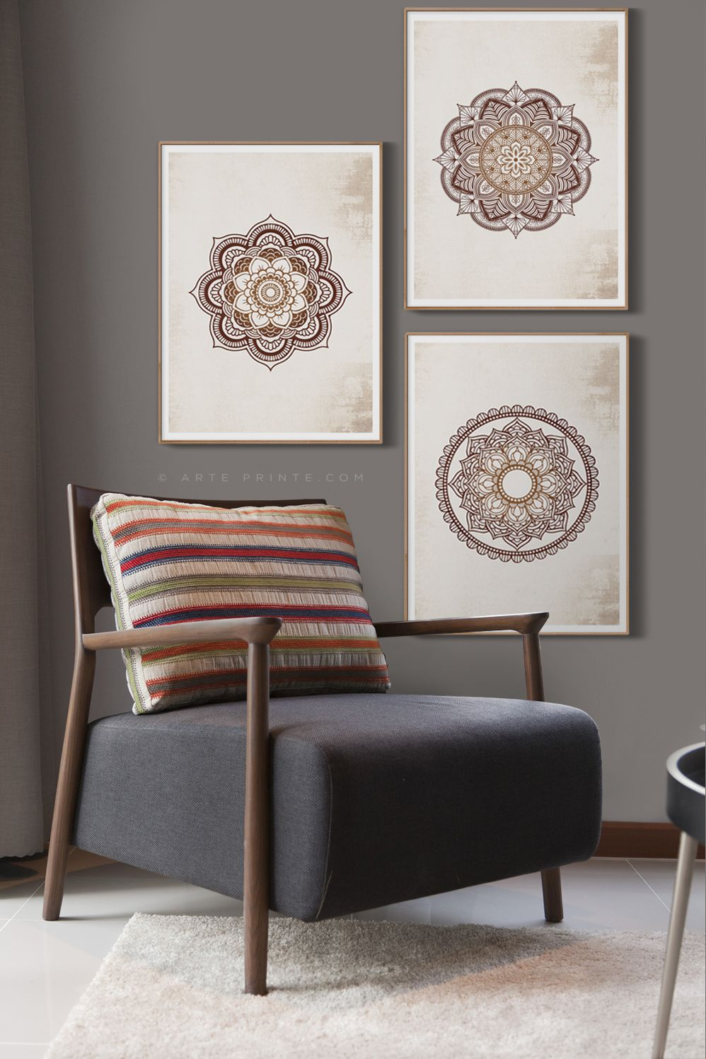 Original Brown Mandala Wall Art Printable Set Of 3 Prints Etsy Wall Decor Living Room Wall Decor Bedroom Wall Decor Printables