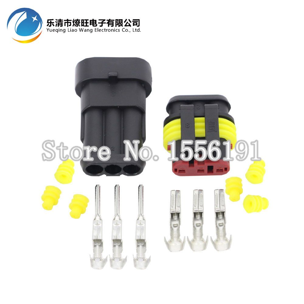 10 Sets Kit 3 Pin Amp 15 Connectorswaterproof Electrical Wire Wiring Terminals Automotive Connector Dj7031