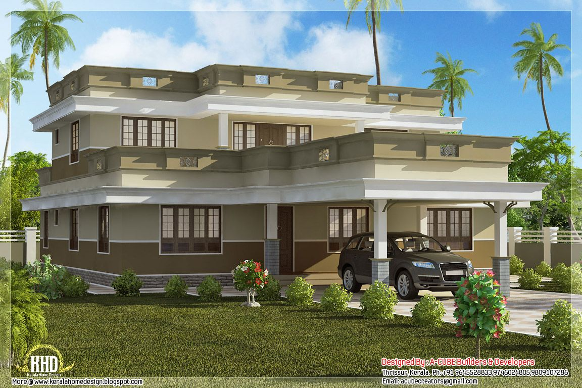 Flat Roof Home Design With 4 Bedroom Kerala And Floor