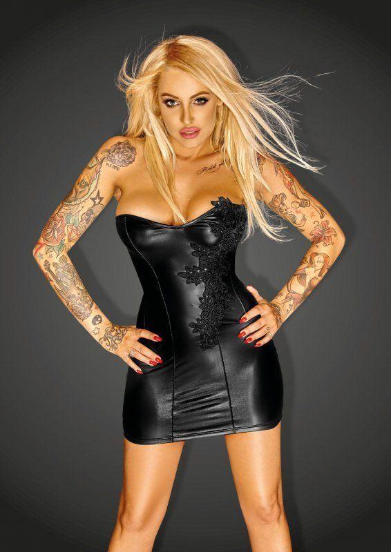 Korsagen-Kleid mit Stickerei | Schwarze minikleider