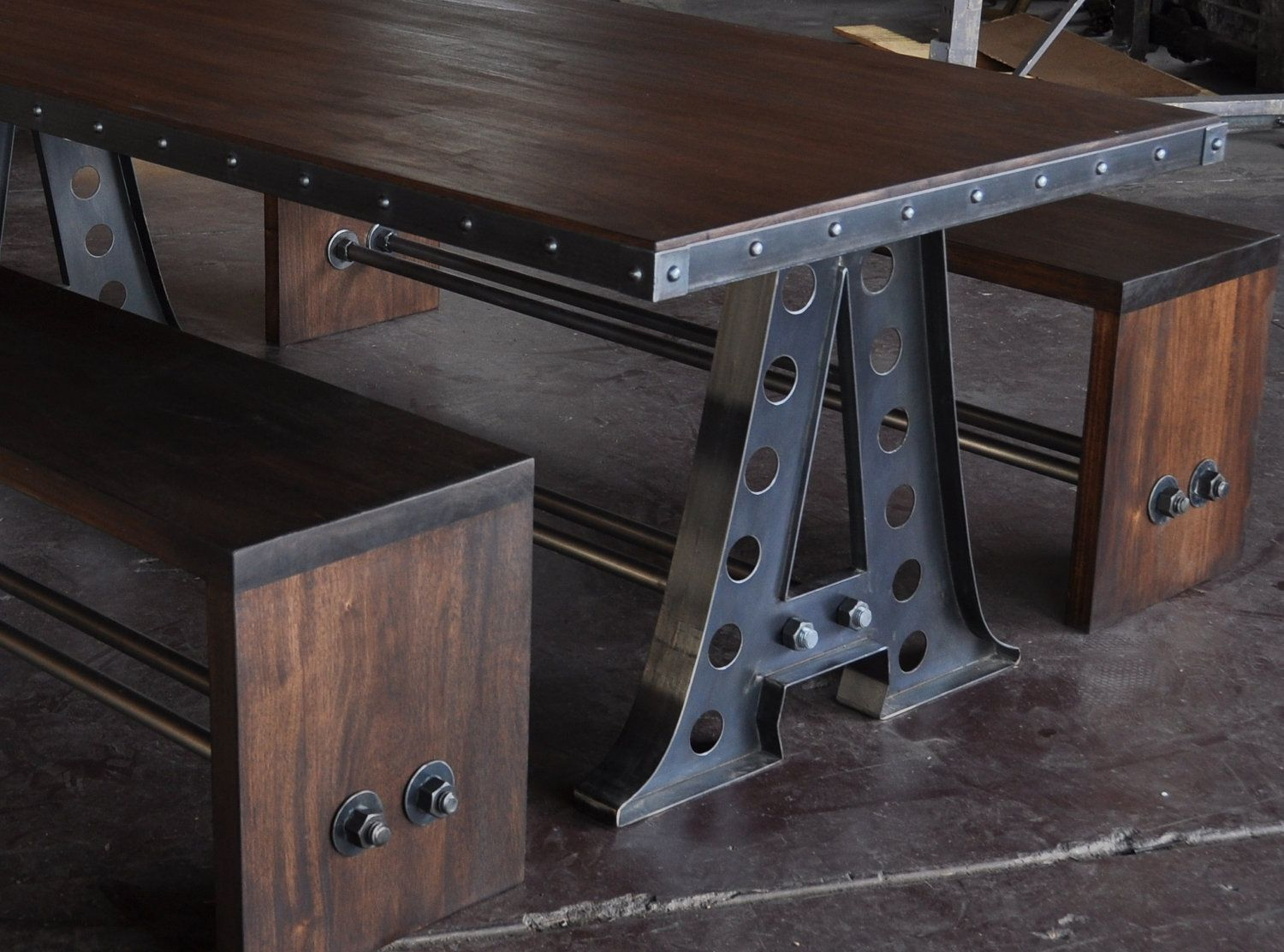 industrial restaurant furniture. Vintage Industrial A Frame Dining Table/Mahogany Benches/Restaurant Seating. $8,300.00, Via Restaurant Furniture 1