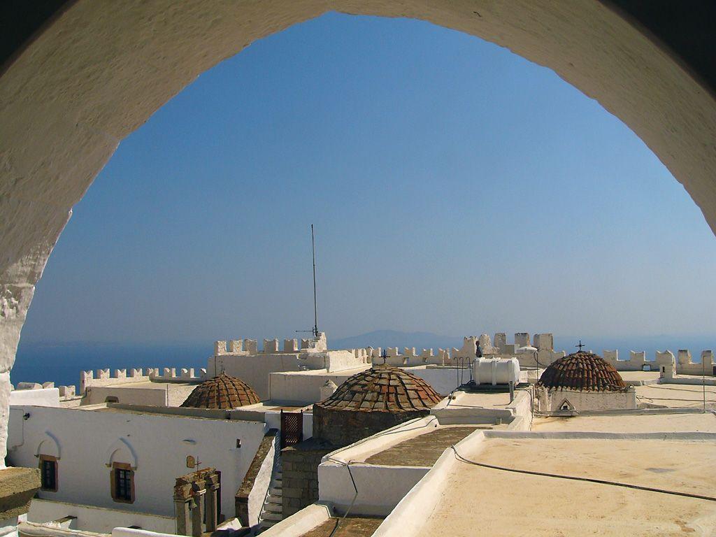 Roof of monastery, Patmos