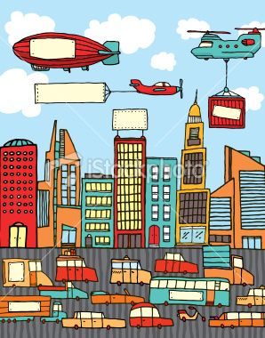 Colorful City With Blank Signs City Cartoon City Illustration
