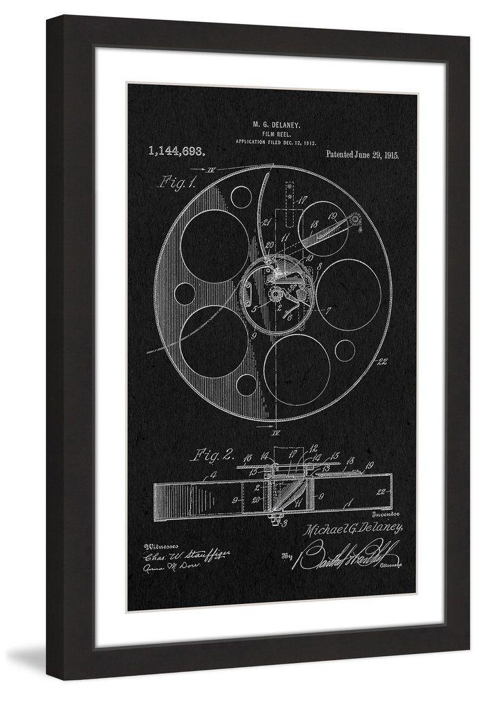 Film reel 1915 black paper marmont hill blueprint art film reel 1915 black paper marmont hill malvernweather Gallery