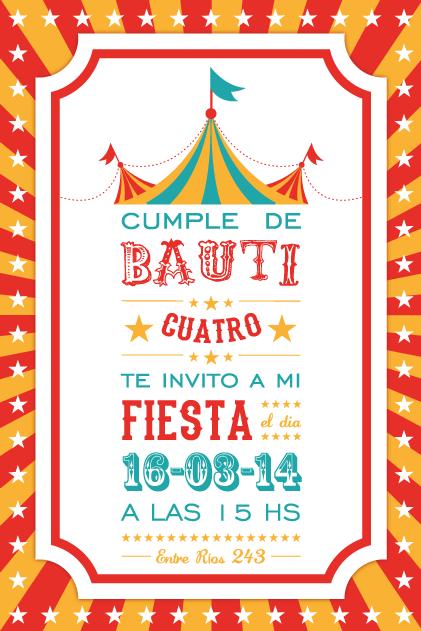 Invitación Circo Invitaciones Cumpleaños Infantiles Pinterest Circus party, Party time and