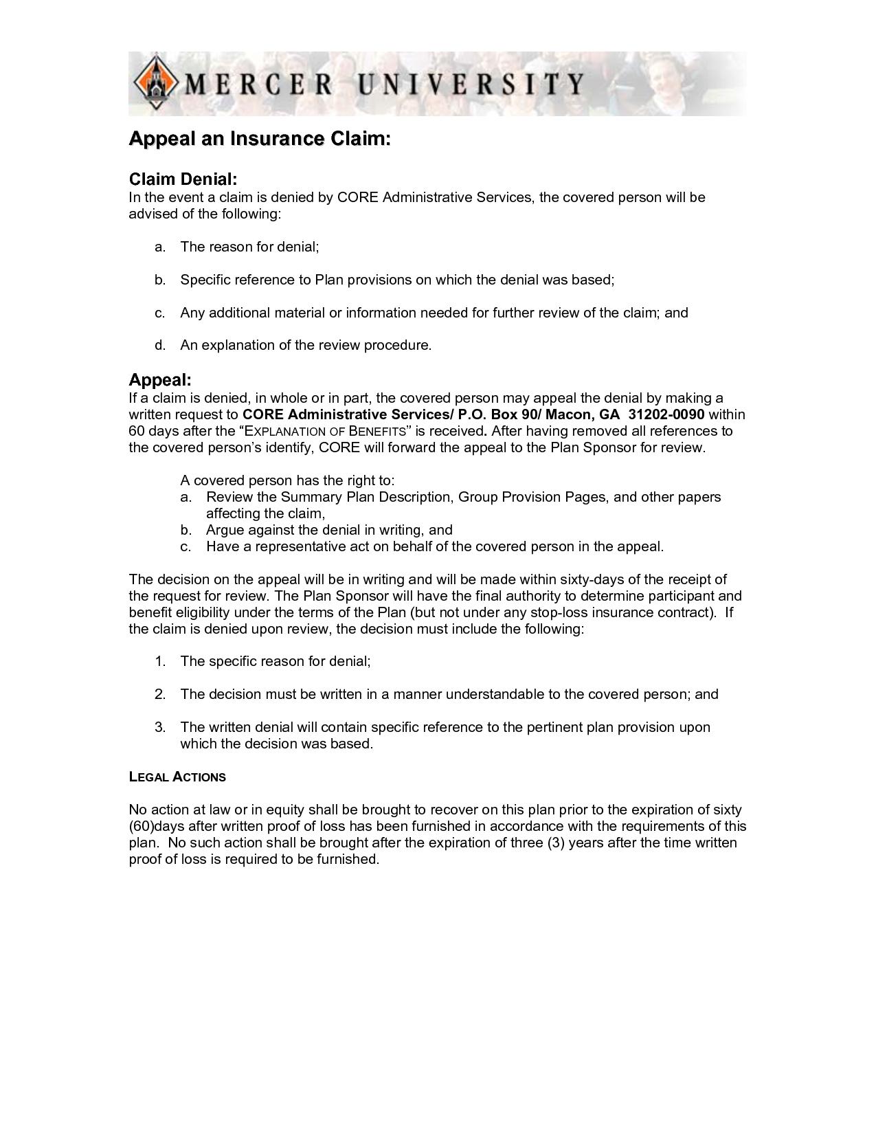 Appeal Letter Sample Medical Claim And Insurance Denial